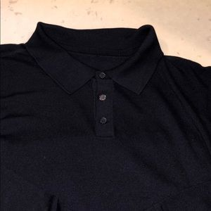Men's 80% silk polo in black